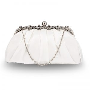 Ivory Sparkly Crystal Satin Evening Clutch