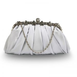 Silver Sparkly Crystal Satin Evening Clutch