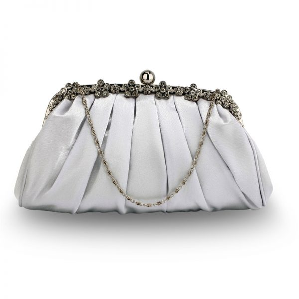 LSE0088 – Silver Sparkly Crystal Satin Evening Clutch_1_