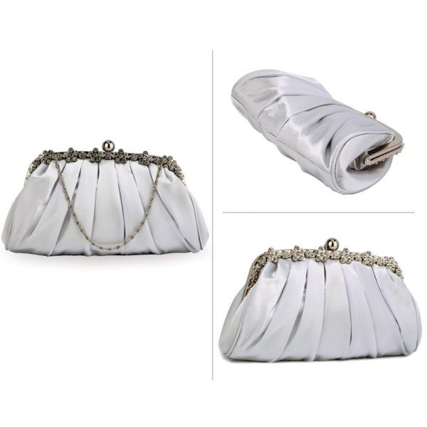 LSE0088 – Silver Sparkly Crystal Satin Evening Clutch_3_