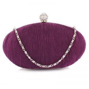 Purple Crystal Satin Evening Clutch
