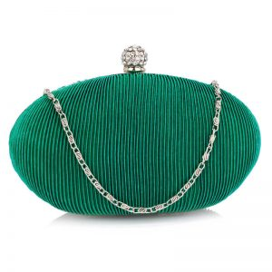 Turquoise Crystal Satin Evening Clutch