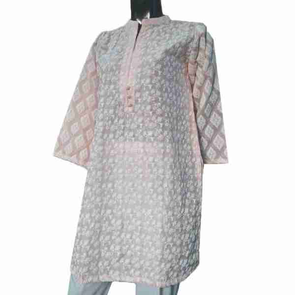 Pink Full Embossed From Both Sides Cotton Silk Top – ZK11-
