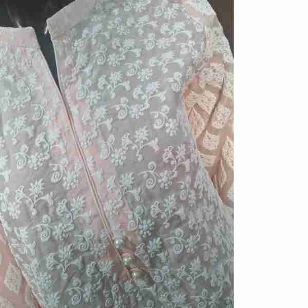 Pink Full Embossed From Both Sides Cotton Silk Top – ZK11
