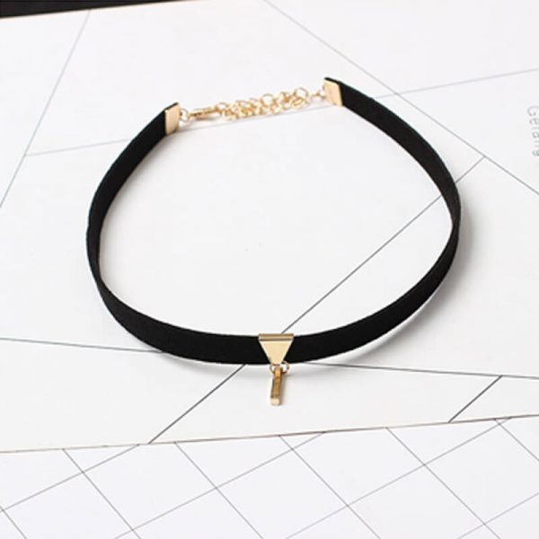 Velvet Choker Necklace black gold AN96