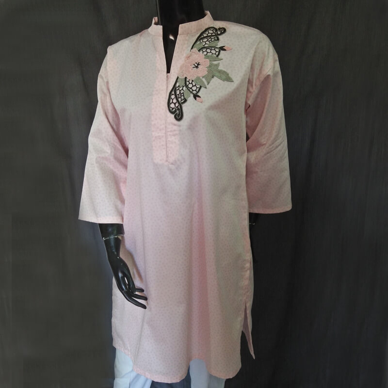 Cotton Silk Pink Kurta Drop Shoulder Style