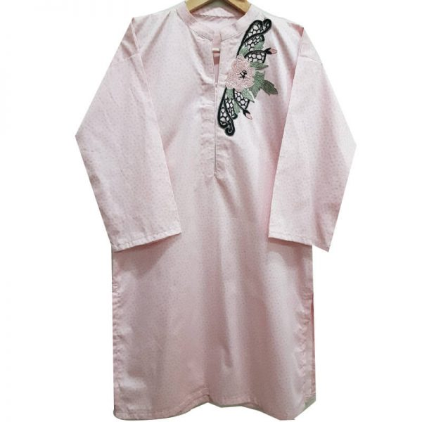 ZK09-3 Cotton Silk Pink Kurta Drop Shoulder Style