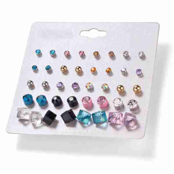 20 Pair Stud Earring Set – Multi Color AS41 (2)