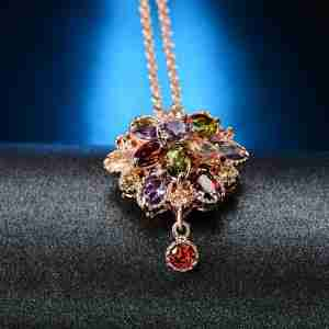 Multi Color Floral Necklace With Rose Gold Chain