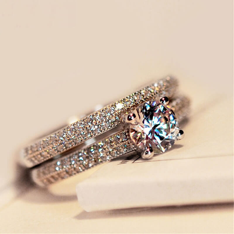 Sterling Silver Diamante Couple Rings