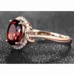 Rose Gold Diamnate Ring With Red Stone