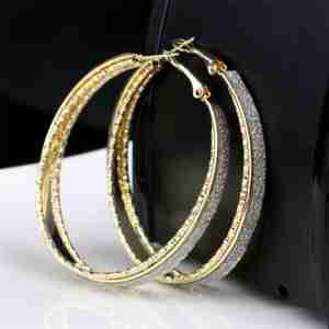Gold Hoop Three Layer Ear ring Trendy