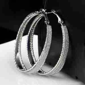 Silver Hoop Three Layer Ear ring Trendy