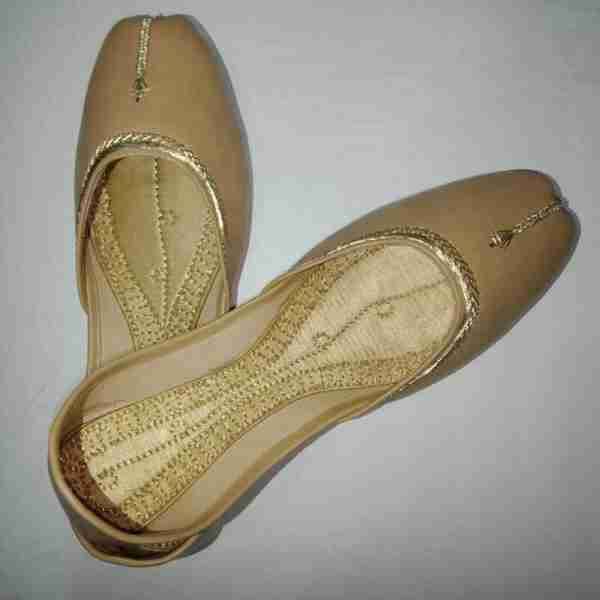 ZS10 BEIGE Ladies Khussa Shoes Non Slip