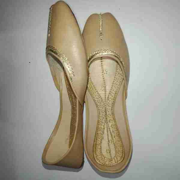 ZS10 BEIGE Ladies Khussa Shoes Non Slip1