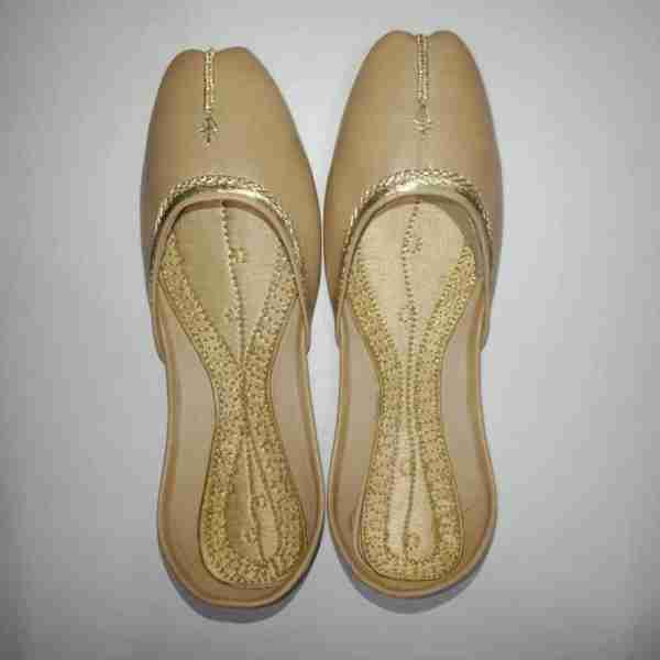ZS10 BEIGE Ladies Khussa Shoes Non Slip3