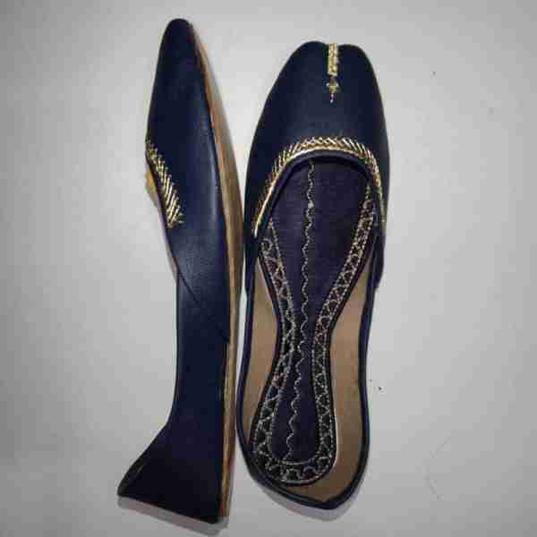 ZS10 Blue Ladies Khussa Shoes Non Slip2