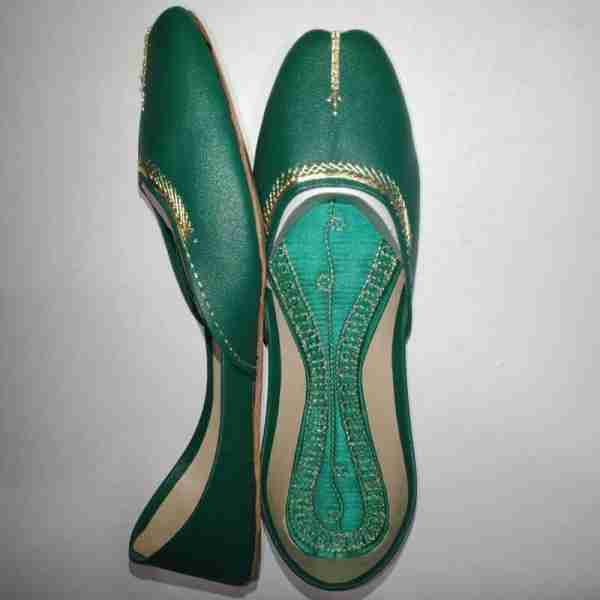 ZS10 Green Ladies Khussa Shoes Non Slip1