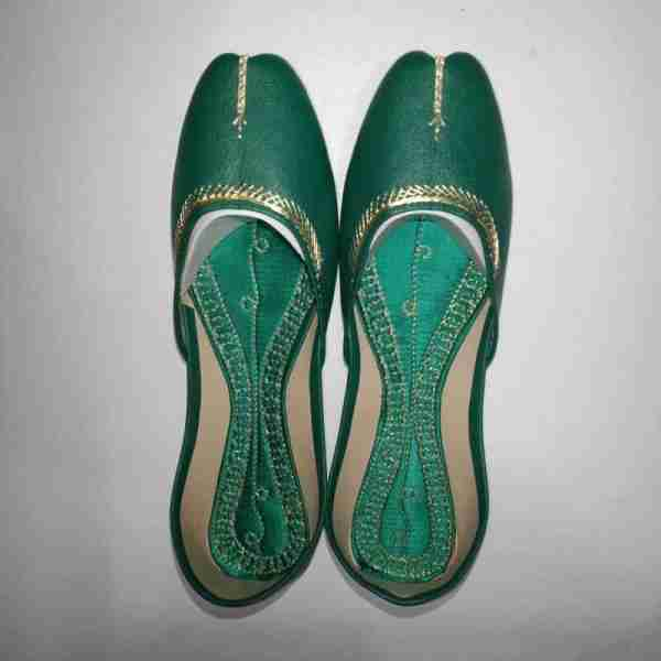 ZS10 Green Ladies Khussa Shoes Non Slip2