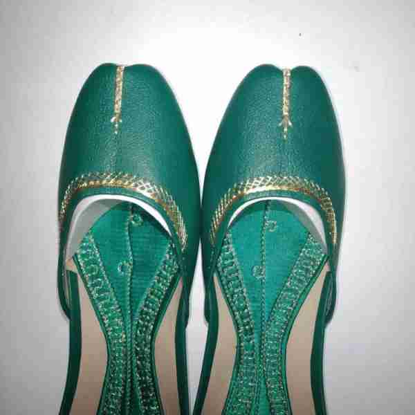 ZS10 Green Ladies Khussa Shoes Non Slip3