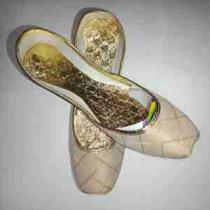 BEIGE Khussa Shoes Check Design - Non Slip