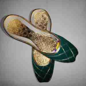 Green Khussa Shoes Check Design - Non Slip