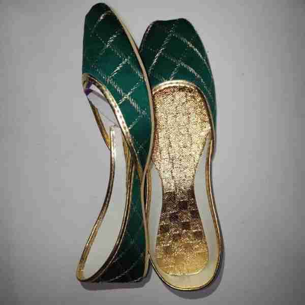 ZS11-Green Khussa Shoes Check Design – Non Slip1