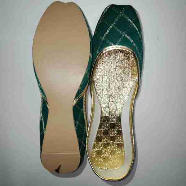 ZS11-Green Khussa Shoes Check Design – Non Slip2