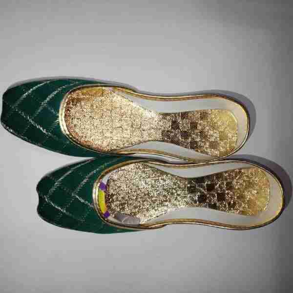 ZS11-Green Khussa Shoes Check Design – Non Slip3