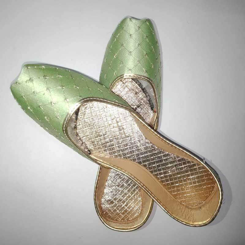 Light Green Khussa Shoes Check Design - Non Slip
