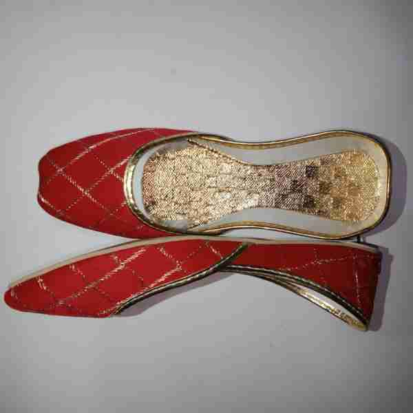 ZS11-Red Khussa Shoes Check Design – Non Slip1