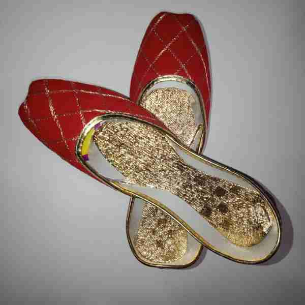 ZS11-Red Khussa Shoes Check Design – Non Slip2