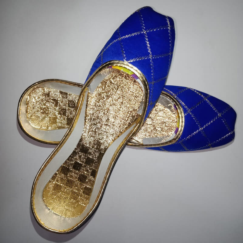 Royal Blue Khussa Shoes Check Design - Non Slip