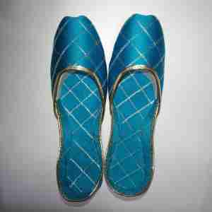 Sky Blue Khussa Shoes Check Design - Non Slip