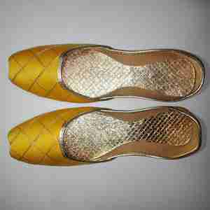 Yellow Khussa Shoes Check Design - Non Slip