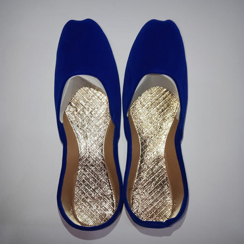 Blue Suede Khussa Shoes - Non Slip