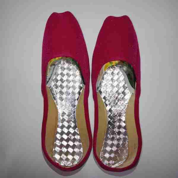 Pink Suede Khussa Shoes - Non Slip