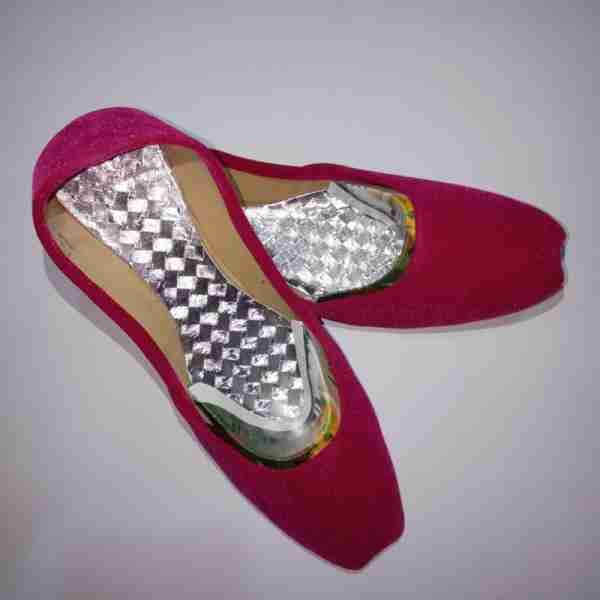 ZS12-Pink Suede Khussa Shoes – Non Slip2