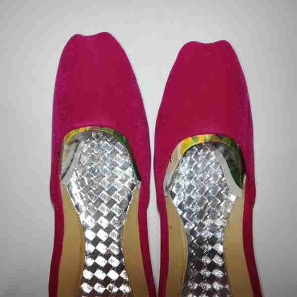 ZS12-Pink Suede Khussa Shoes – Non Slip3