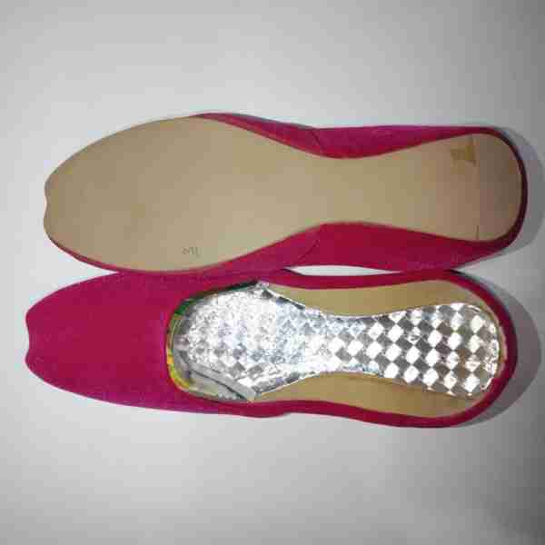 ZS12-Pink Suede Khussa Shoes – Non Slip4