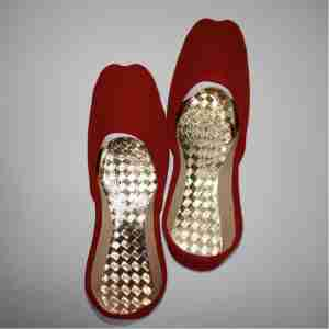Red Suede Khussa Shoes - Non Slip