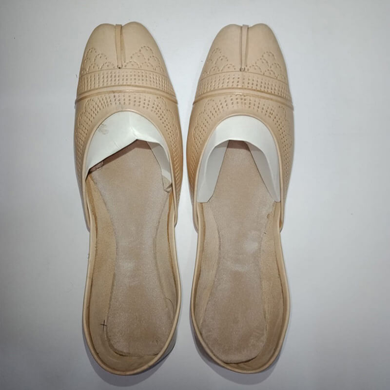 BEIGE Leather Khussa Shoes - Non Slip