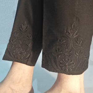 Floral Embroided - Black Cotton Trouser