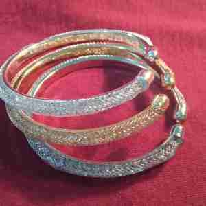 3 Piece - Silver ,Gold and White Bracelet Set