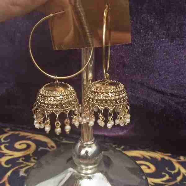 1Antique Earring Bali Jhumke Pakistani With Pearls ZE05