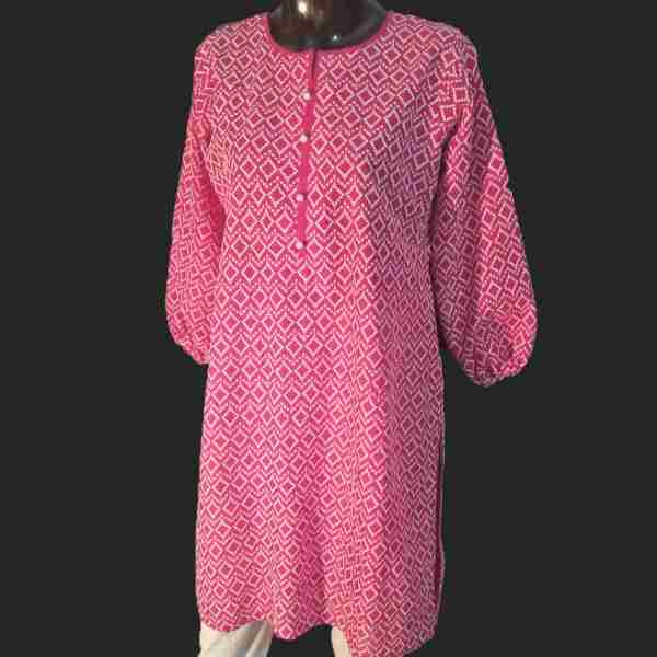 2 Full Embroided Front and Back Kurti Top – Red – ZK15