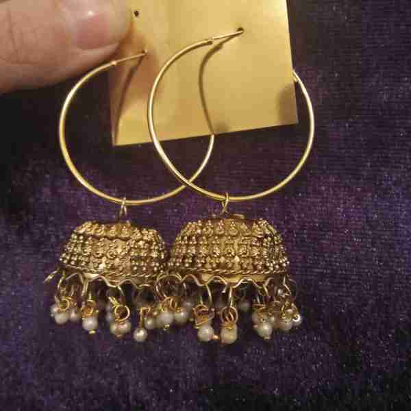 Antique Earring Bali Jhumke Pakistani With Pearls ZE05–