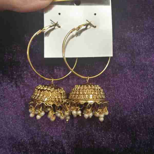 Antique Earring Bali Jhumke Pakistani With Pearls ZE05—