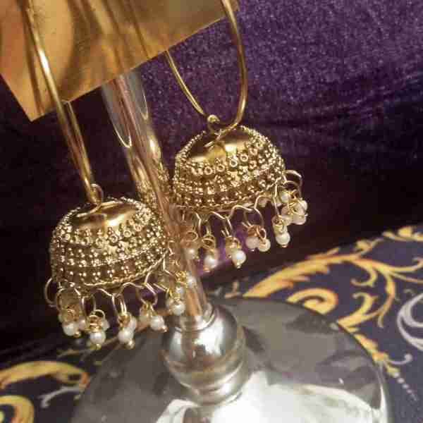 Antique Earring Bali Jhumke Pakistani With Pearls ZE05—-