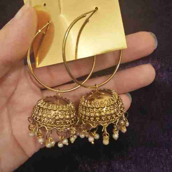 Antique Earring Bali Jhumke Pakistani With Pearls ZE05——